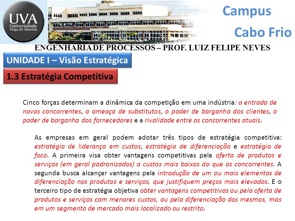 Campus Cabo Frio Cinco forças determinam a dinâmica da competição em uma indústria: a entrada de novos concorrentes, a ameaça de substitutos, o poder de barganha dos clientes, o poder de barganha dos fornecedores e a rivalidade entre os concorrentes atuais.