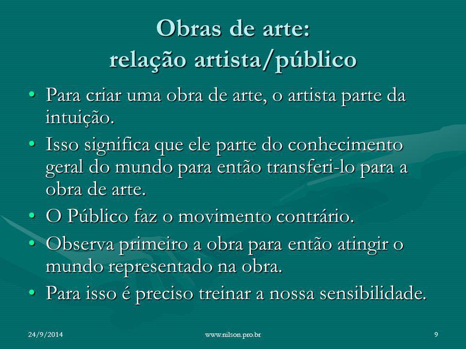 Obras de arte: relação artista/público Para criar uma obra de arte, o artista parte da intuição.Para criar uma obra de arte, o artista parte da intuiç