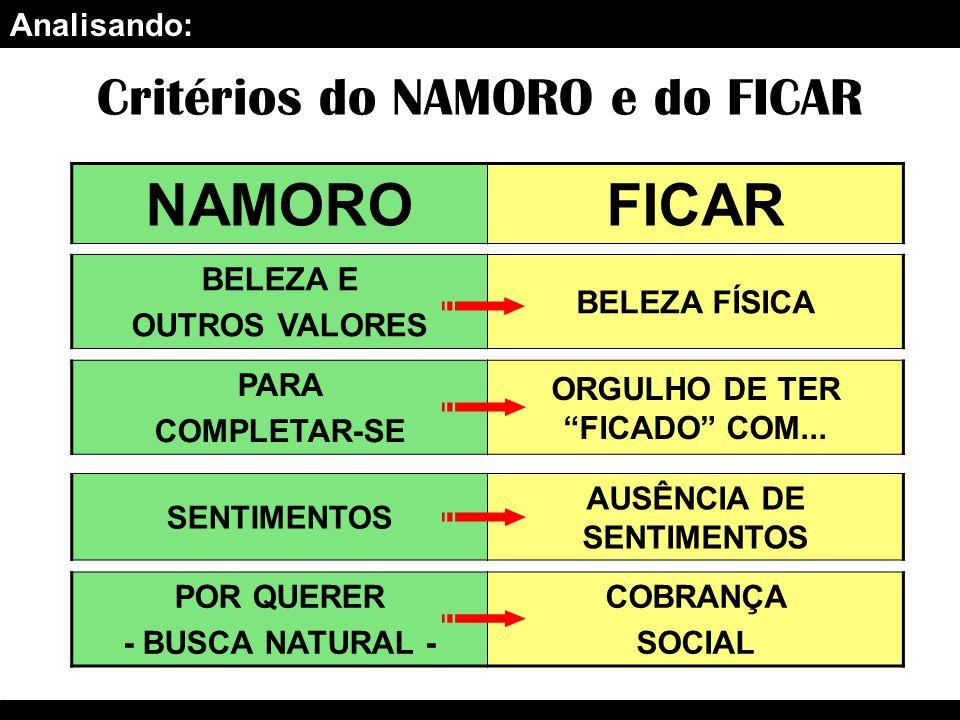 Analisando: Critérios do NAMORO e do FICAR NAMOROFICAR BELEZA E OUTROS VALORES BELEZA FÍSICA PARA COMPLETAR-SE ORGULHO DE TER FICADO COM...