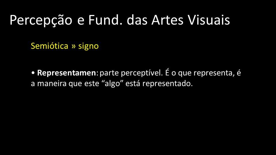 Percepção e Fund.das Artes Visuais Semiótica » signo Representamen: parte perceptível.