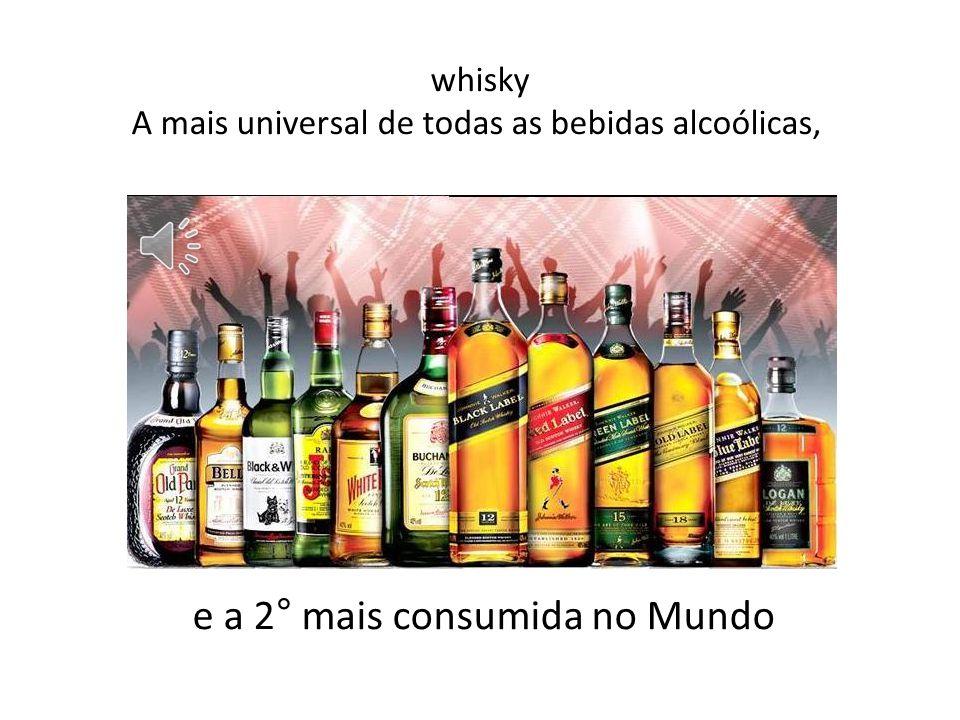 whisky A mais universal de todas as bebidas alcoólicas, e a 2° mais consumida no Mundo