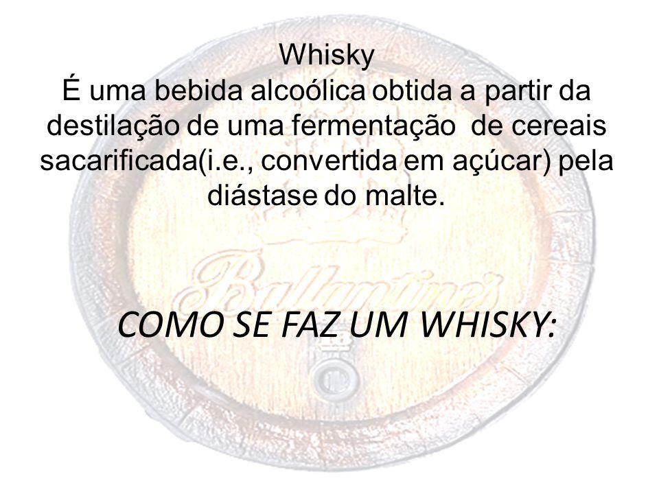 COMO SE FAZ UM WHISKY: Whisky É uma bebida alcoólica obtida a partir da destilação de uma fermentação de cereais sacarificada(i.e., convertida em açúc