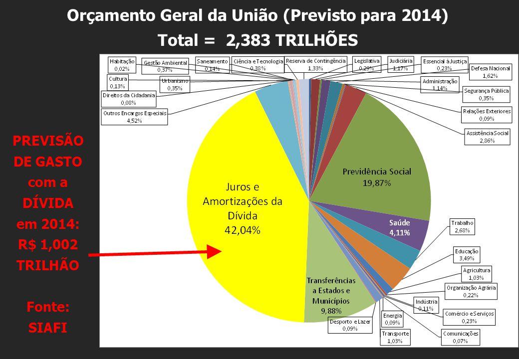 Orçamento Geral da União (Previsto para 2014) Total = 2,383 TRILHÕES PREVISÃO DE GASTO com a DÍVIDA em 2014: R$ 1,002 TRILHÃO Fonte: SIAFI