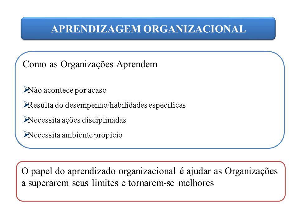 APRENDIZAGEM ORGANIZACIONAL Como as Organizações Aprendem  Não acontece por acaso  Resulta do desempenho/habilidades específicas  Necessita ações d
