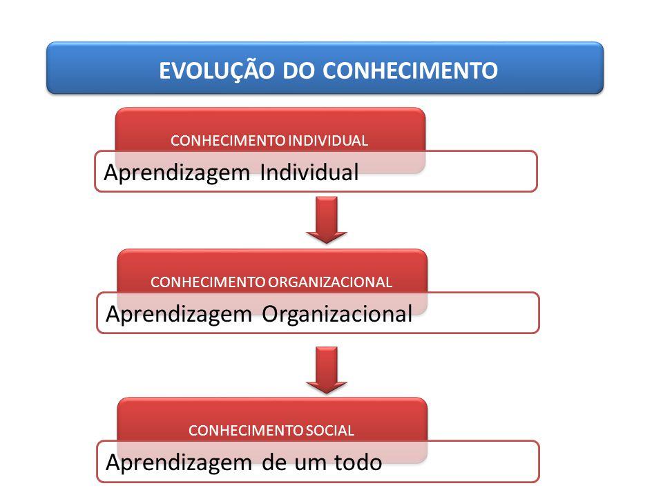 CONHECIMENTO INDIVIDUAL EVOLUÇÃO DO CONHECIMENTO Aprendizagem Individual CONHECIMENTO ORGANIZACIONAL Aprendizagem Organizacional CONHECIMENTO SOCIAL A