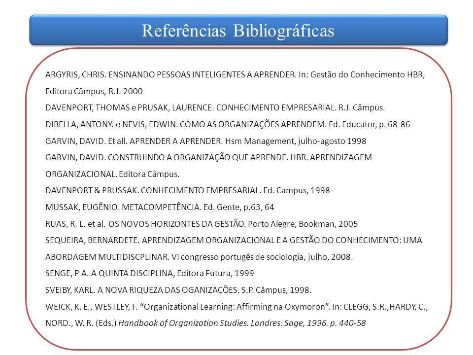ARGYRIS, CHRIS. ENSINANDO PESSOAS INTELIGENTES A APRENDER. In: Gestão do Conhecimento HBR, Editora Câmpus, R.J. 2000 DAVENPORT, THOMAS e PRUSAK, LAURE