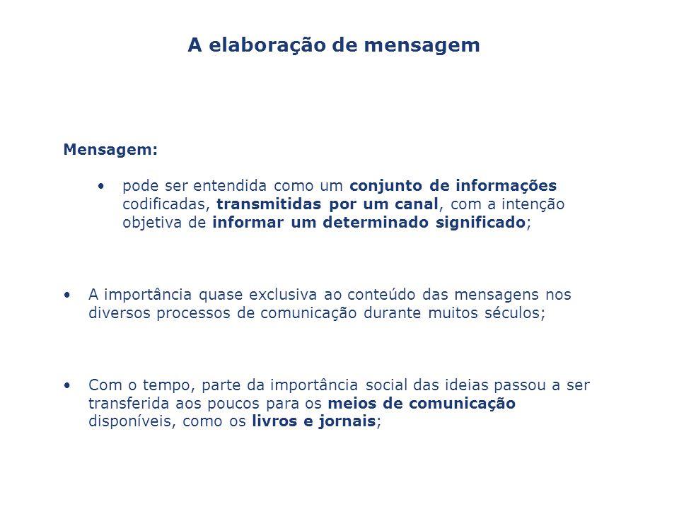 Mensagem: pode ser entendida como um conjunto de informações codificadas, transmitidas por um canal, com a intenção objetiva de informar um determinad