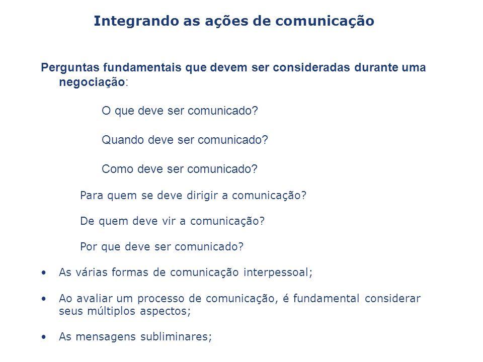 Perguntas fundamentais que devem ser consideradas durante uma negociação: O que deve ser comunicado? Quando deve ser comunicado? Como deve ser comunic