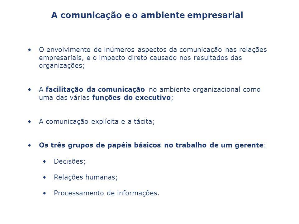 O envolvimento de inúmeros aspectos da comunicação nas relações empresariais, e o impacto direto causado nos resultados das organizações; A facilitaçã