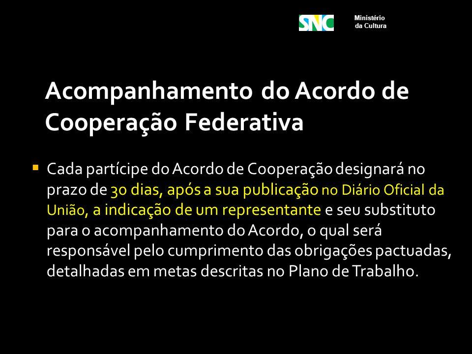 Acompanhamento do Acordo de Cooperação Federativa  Cada partícipe do Acordo de Cooperação designará no prazo de 30 dias, após a sua publicação no Diá