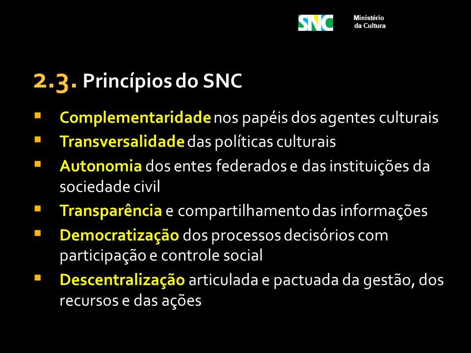 2.3. Princípios do SNC  Complementaridade nos papéis dos agentes culturais  Transversalidade das políticas culturais  Autonomia dos entes federados