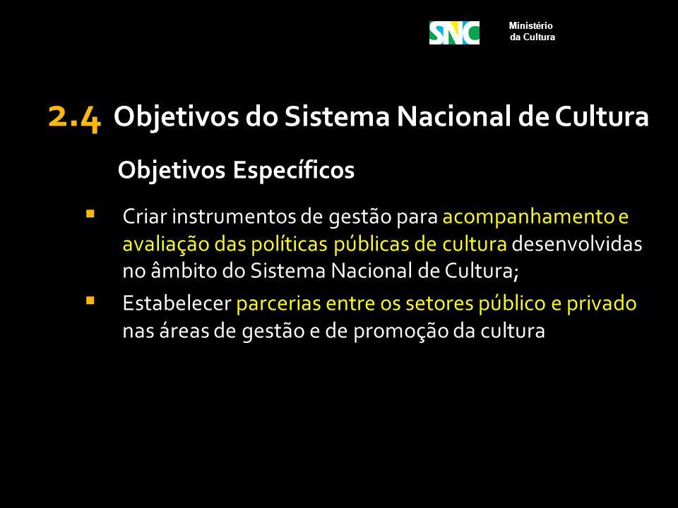 2.4 Objetivos do Sistema Nacional de Cultura Objetivos Específicos  Criar instrumentos de gestão para acompanhamento e avaliação das políticas públic