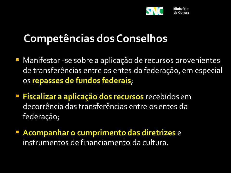 Competências dos Conselhos  Manifestar -se sobre a aplicação de recursos provenientes de transferências entre os entes da federação, em especial os r