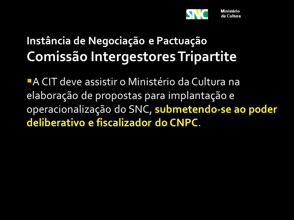 Instância de Negociação e Pactuação Comissão Intergestores Tripartite  A CIT deve assistir o Ministério da Cultura na elaboração de propostas para im