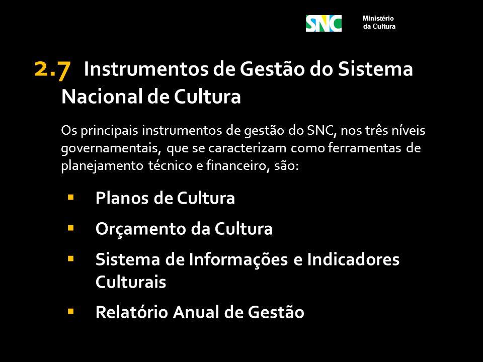 2.7 Instrumentos de Gestão do Sistema Nacional de Cultura Os principais instrumentos de gestão do SNC, nos três níveis governamentais, que se caracter
