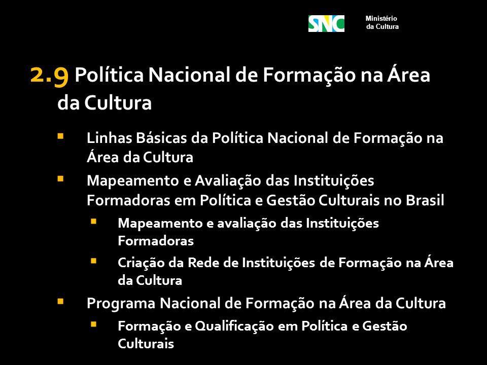 2.9 Política Nacional de Formação na Área da Cultura  Linhas Básicas da Política Nacional de Formação na Área da Cultura  Mapeamento e Avaliação das