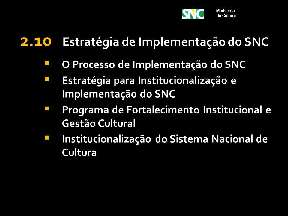 2.10 Estratégia de Implementação do SNC  O Processo de Implementação do SNC  Estratégia para Institucionalização e Implementação do SNC  Programa d