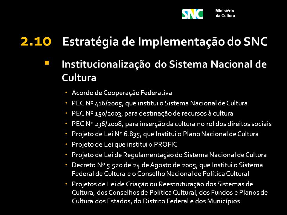 2.10 Estratégia de Implementação do SNC  Institucionalização do Sistema Nacional de Cultura  Acordo de Cooperação Federativa  PEC Nº 416/2005, que
