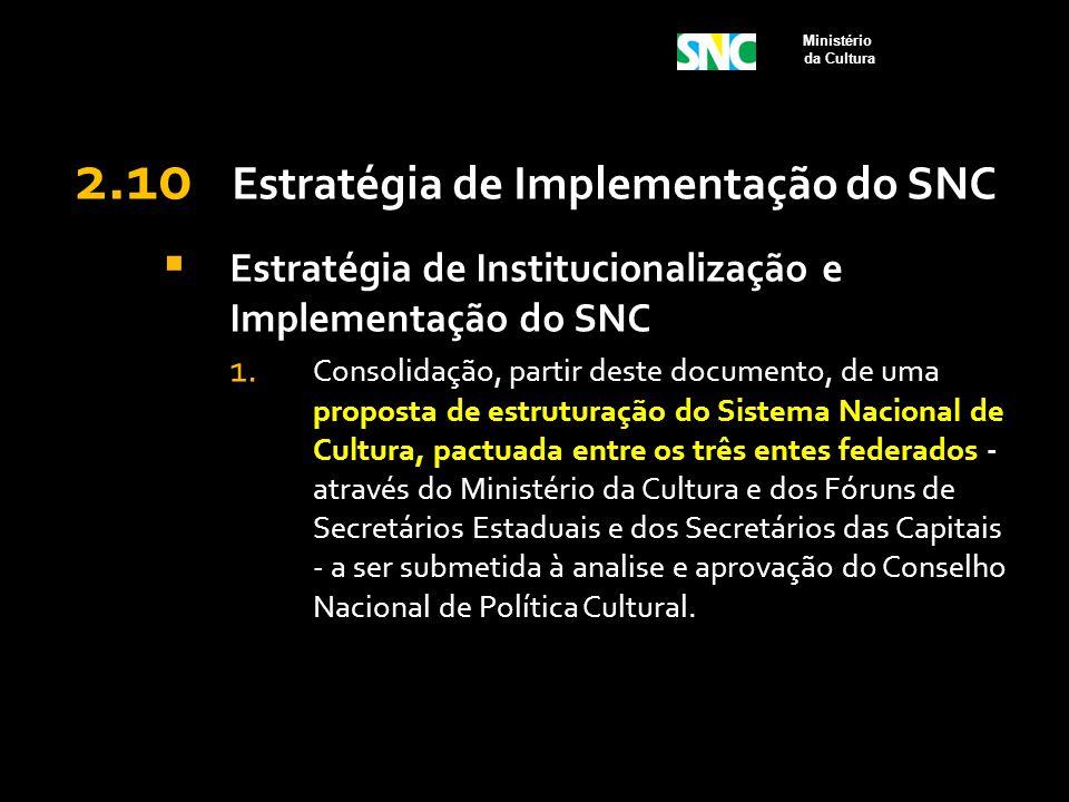 2.10 Estratégia de Implementação do SNC  Estratégia de Institucionalização e Implementação do SNC 1. Consolidação, partir deste documento, de uma pro