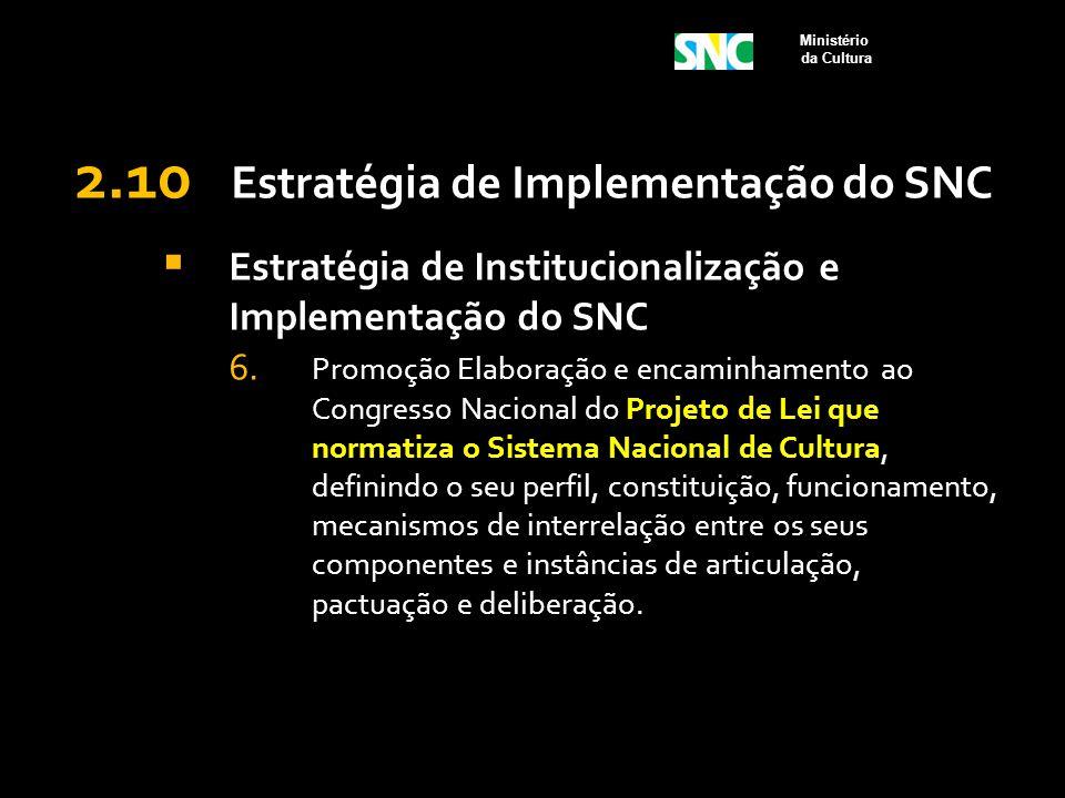 2.10 Estratégia de Implementação do SNC  Estratégia de Institucionalização e Implementação do SNC 6. Promoção Elaboração e encaminhamento ao Congress