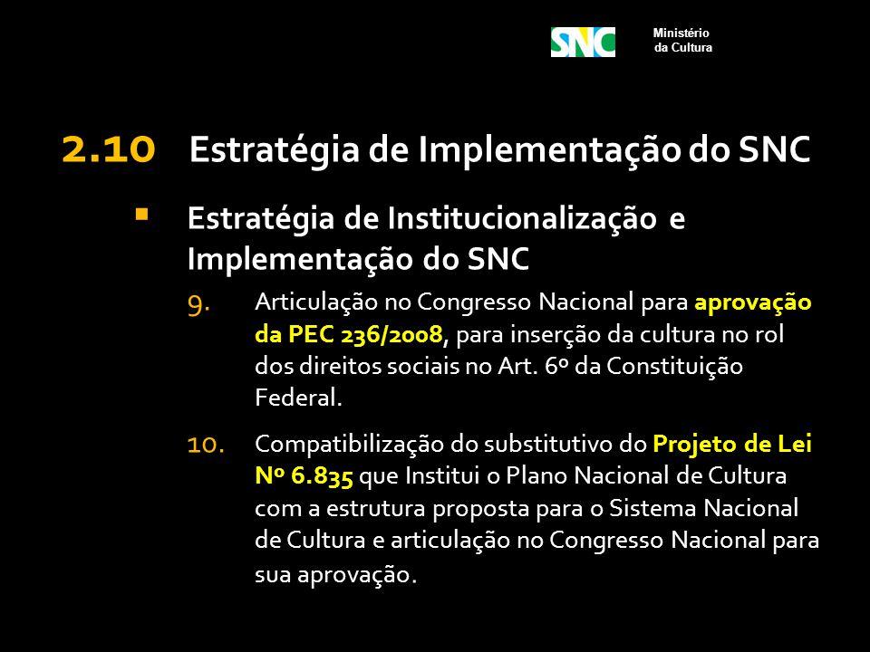 2.10 Estratégia de Implementação do SNC  Estratégia de Institucionalização e Implementação do SNC 9. Articulação no Congresso Nacional para aprovação