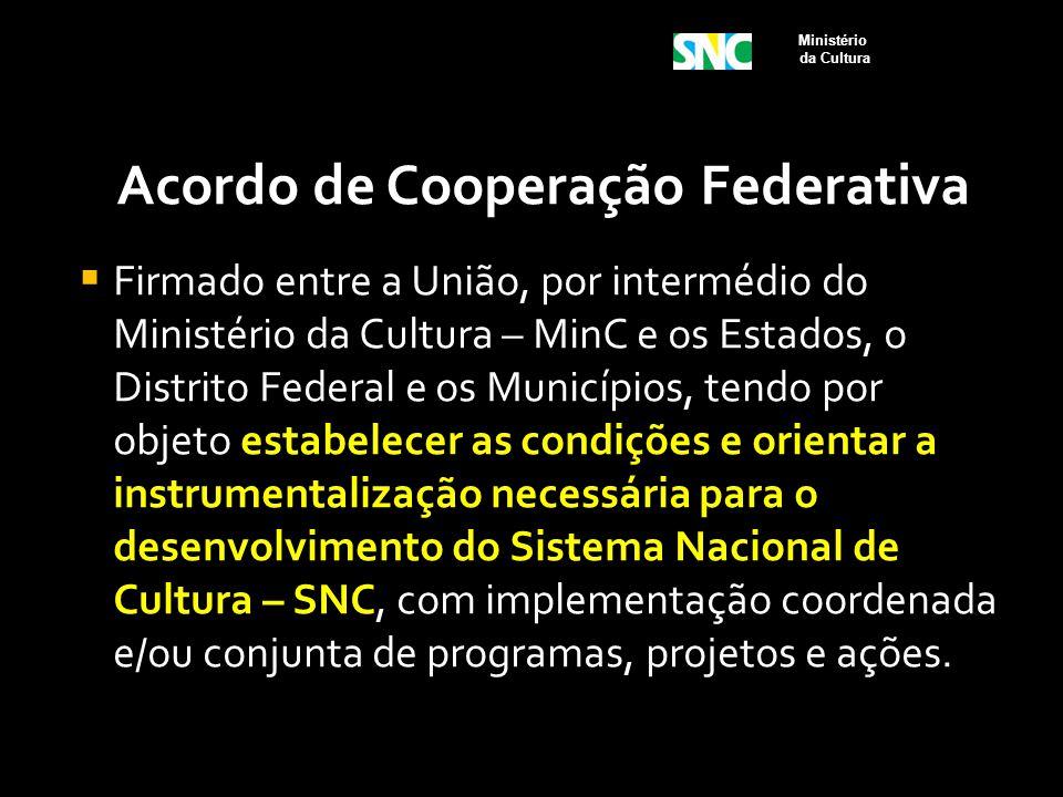 Acordo de Cooperação Federativa  Firmado entre a União, por intermédio do Ministério da Cultura – MinC e os Estados, o Distrito Federal e os Municípi