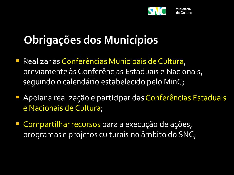 Obrigações dos Municípios  Realizar as Conferências Municipais de Cultura, previamente às Conferências Estaduais e Nacionais, seguindo o calendário e