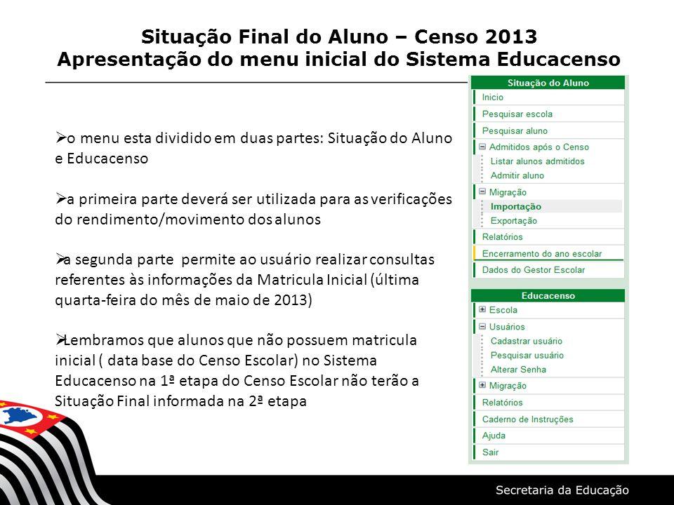 Situação Final do Aluno – Censo 2013 Apresentação do menu inicial do Sistema Educacenso  o menu esta dividido em duas partes: Situação do Aluno e Edu