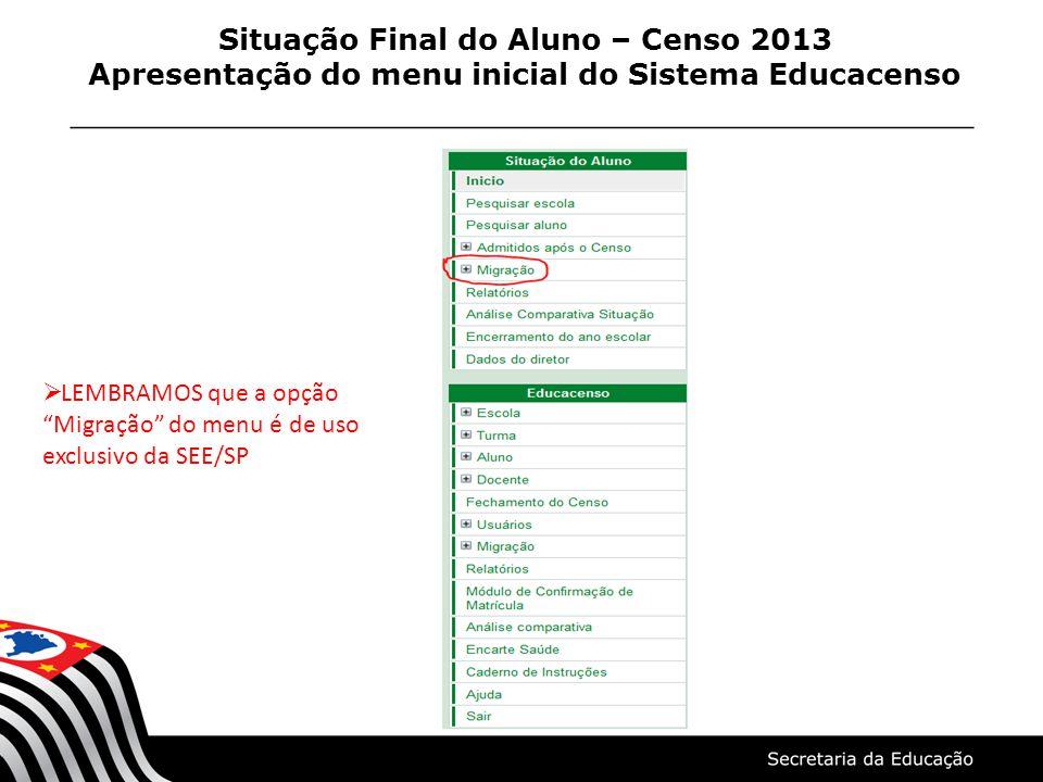 """Situação Final do Aluno – Censo 2013 Apresentação do menu inicial do Sistema Educacenso  LEMBRAMOS que a opção """"Migração"""" do menu é de uso exclusivo"""