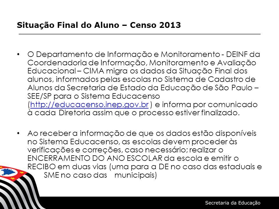 Situação Final do Aluno - 2ª Etapa do Censo Escolar 2013 Cronograma PORTARIA No- 109, DE 17 DE MARÇO DE 2014 que a migração deve ocorrer até o dia 08/04/2014; que as verificações e correções, ENCERRAMENTO DO ANO ESCOLAR e EMISSÃO DO RECIBO no Sistema Educacenso devem ser realizadas entre os dias 16/04 e 30/04/2014 (prazo final);