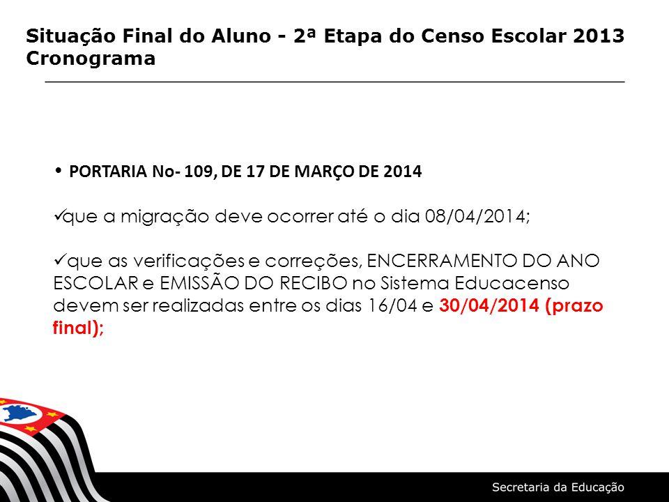 Situação Final do Aluno - 2ª Etapa do Censo Escolar 2013 Cronograma PORTARIA No- 109, DE 17 DE MARÇO DE 2014 que a migração deve ocorrer até o dia 08/