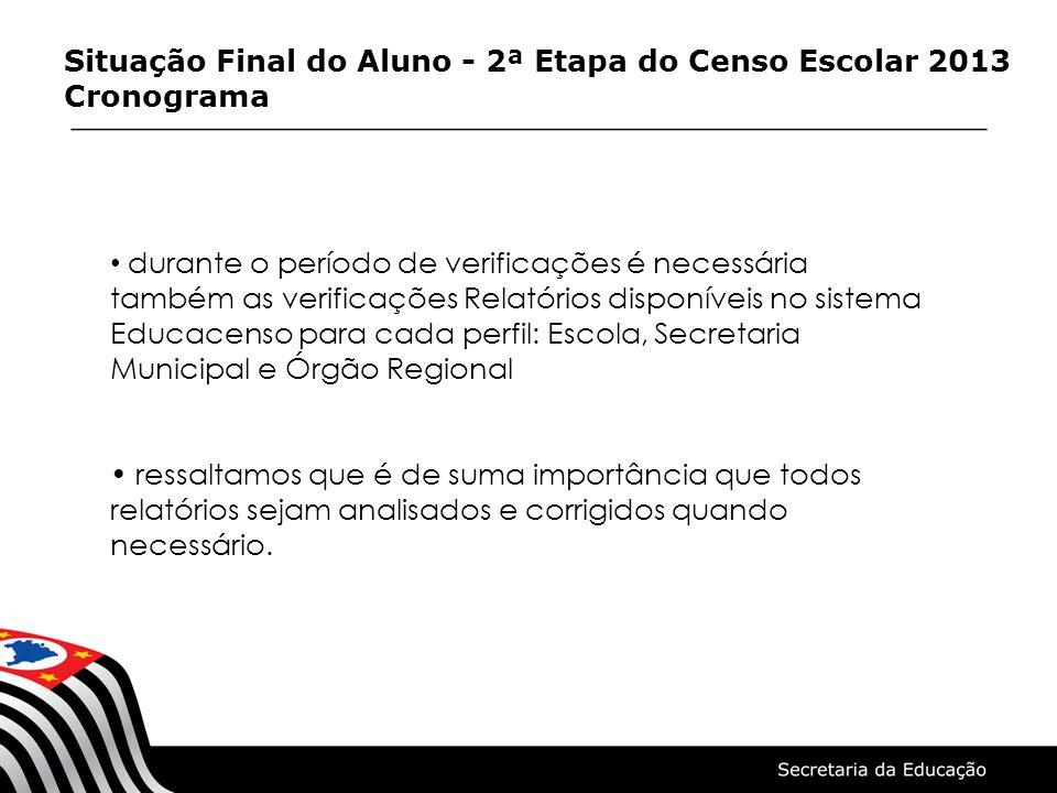 Situação Final do Aluno - 2ª Etapa do Censo Escolar 2013 Cronograma durante o período de verificações é necessária também as verificações Relatórios d