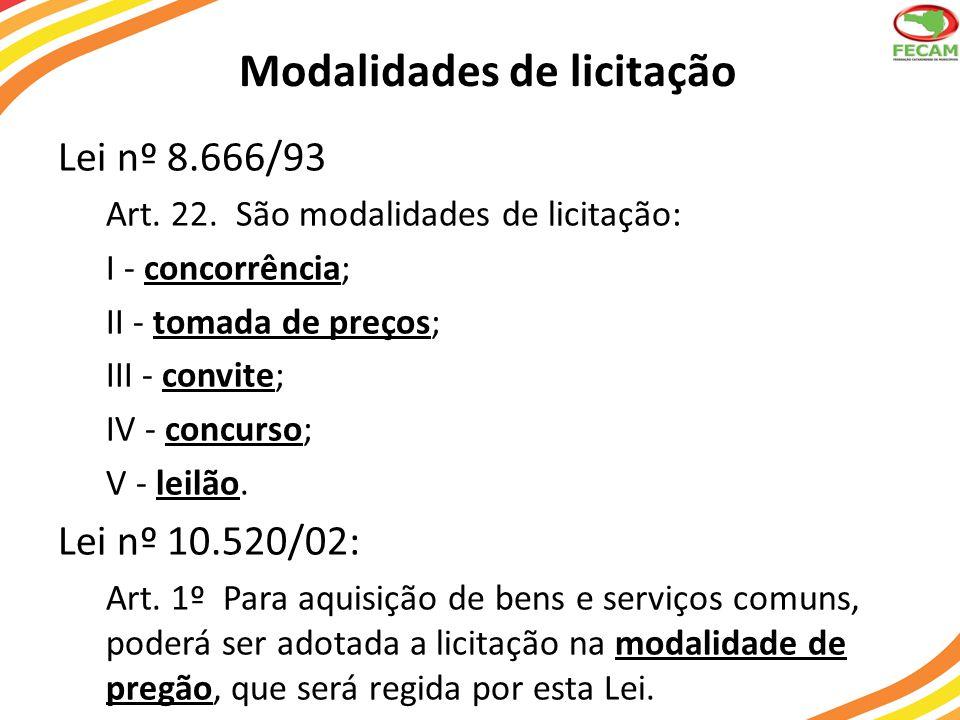 Modalidades de licitação Lei nº 8.666/93 Art.22.