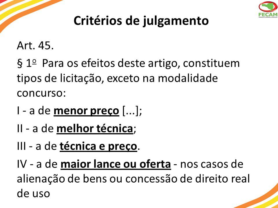 Critérios de julgamento Art. 45. § 1 o Para os efeitos deste artigo, constituem tipos de licitação, exceto na modalidade concurso: I - a de menor preç