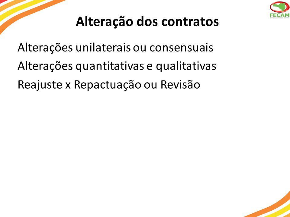 Alteração dos contratos Alterações unilaterais ou consensuais Alterações quantitativas e qualitativas Reajuste x Repactuação ou Revisão