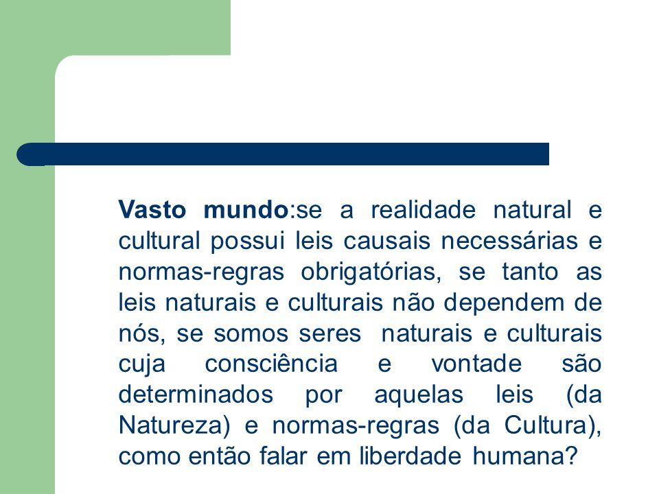Vasto mundo:se a realidade natural e cultural possui leis causais necessárias e normas-regras obrigatórias, se tanto as leis naturais e culturais não