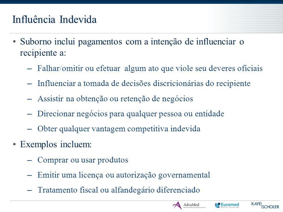 Influência Indevida Suborno inclui pagamentos com a intenção de influenciar o recipiente a: – Falhar/omitir ou efetuar algum ato que viole seu deveres