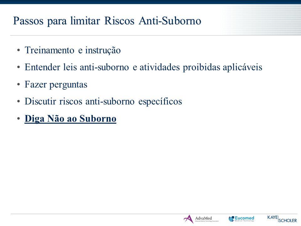 Passos para limitar Riscos Anti-Suborno Treinamento e instrução Entender leis anti-suborno e atividades proibidas aplicáveis Fazer perguntas Discutir