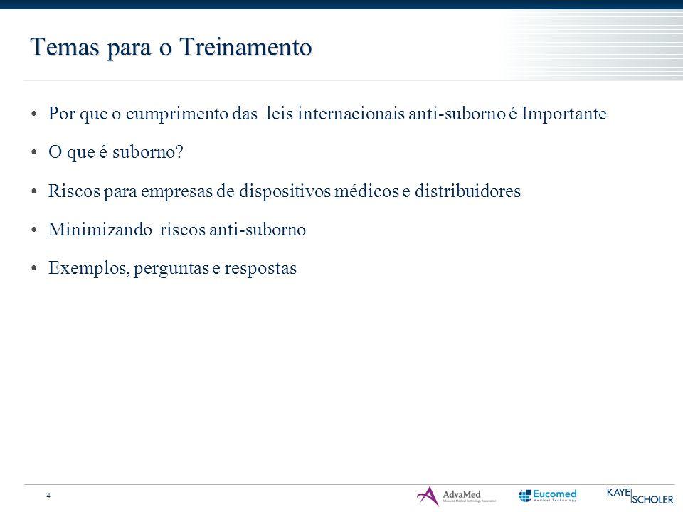 Temas para o Treinamento 4 Por que o cumprimento das leis internacionais anti-suborno é Importante O que é suborno? Riscos para empresas de dispositiv