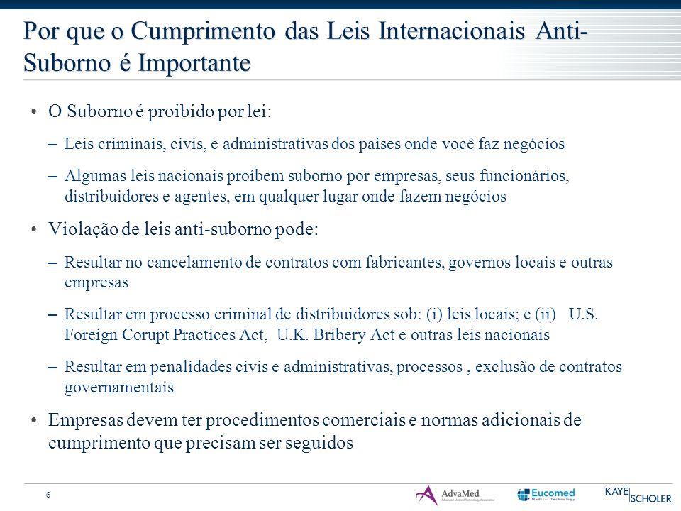 Por que o Cumprimento das Leis Internacionais Anti- Suborno é Importante 6 O Suborno é proibido por lei: – Leis criminais, civis, e administrativas do