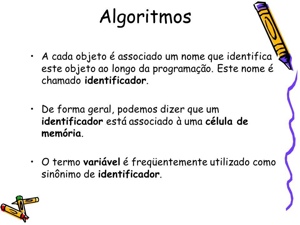 A cada objeto é associado um nome que identifica este objeto ao longo da programação. Este nome é chamado identificador. De forma geral, podemos dizer