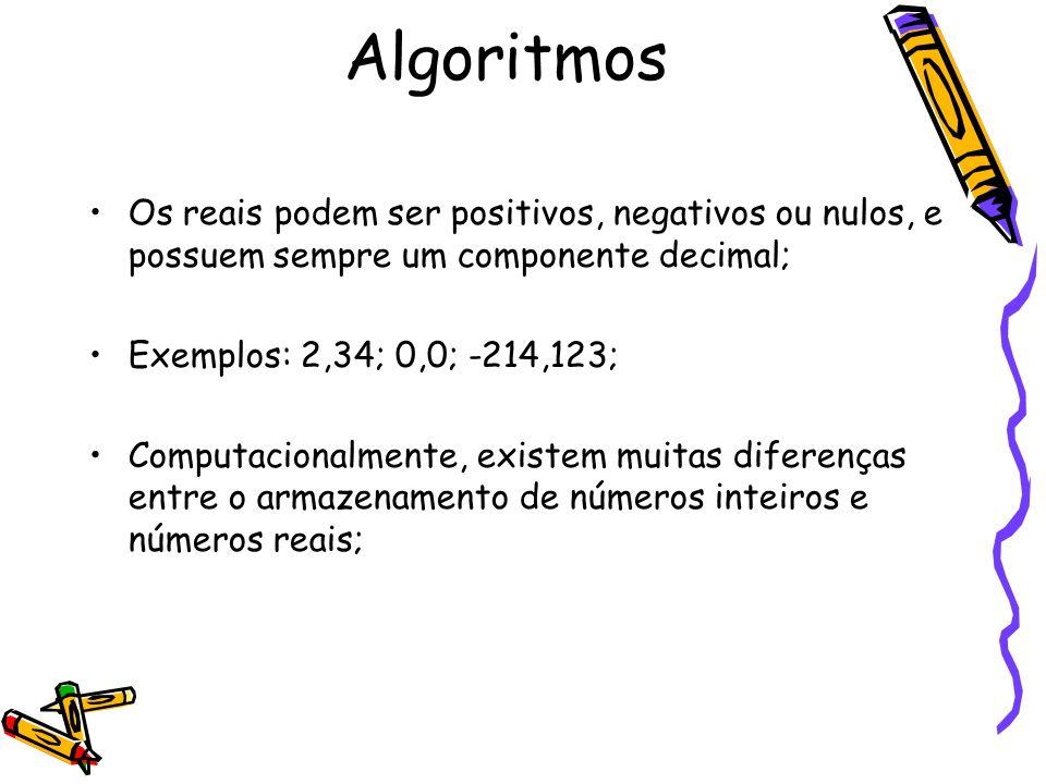 Os reais podem ser positivos, negativos ou nulos, e possuem sempre um componente decimal; Exemplos: 2,34; 0,0; -214,123; Computacionalmente, existem m