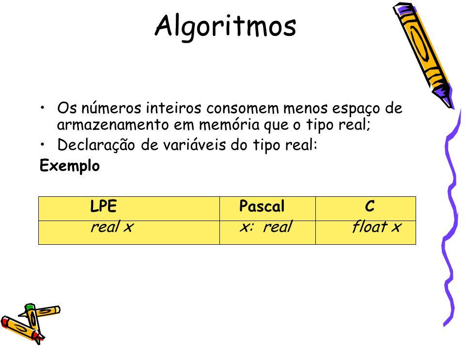 Os números inteiros consomem menos espaço de armazenamento em memória que o tipo real; Declaração de variáveis do tipo real: Exemplo LPE PascalC real