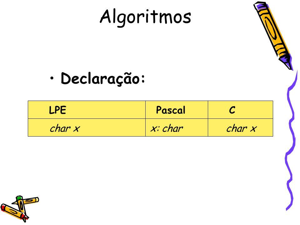 Declaração: LPE PascalC char x x: char char x Algoritmos