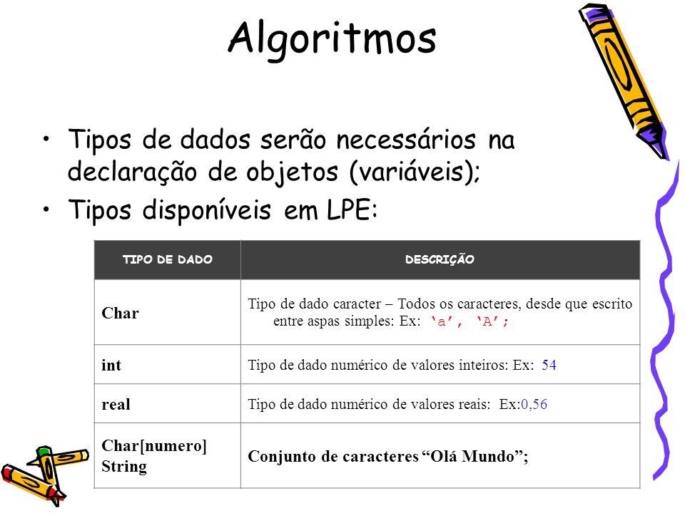 Tipos de dados serão necessários na declaração de objetos (variáveis); Tipos disponíveis em LPE: TIPO DE DADODESCRIÇÃO Char Tipo de dado caracter – To