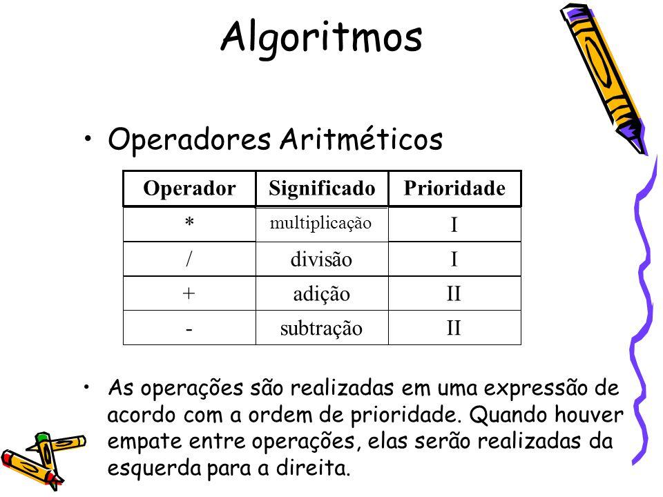 Operadores Aritméticos As operações são realizadas em uma expressão de acordo com a ordem de prioridade. Quando houver empate entre operações, elas se