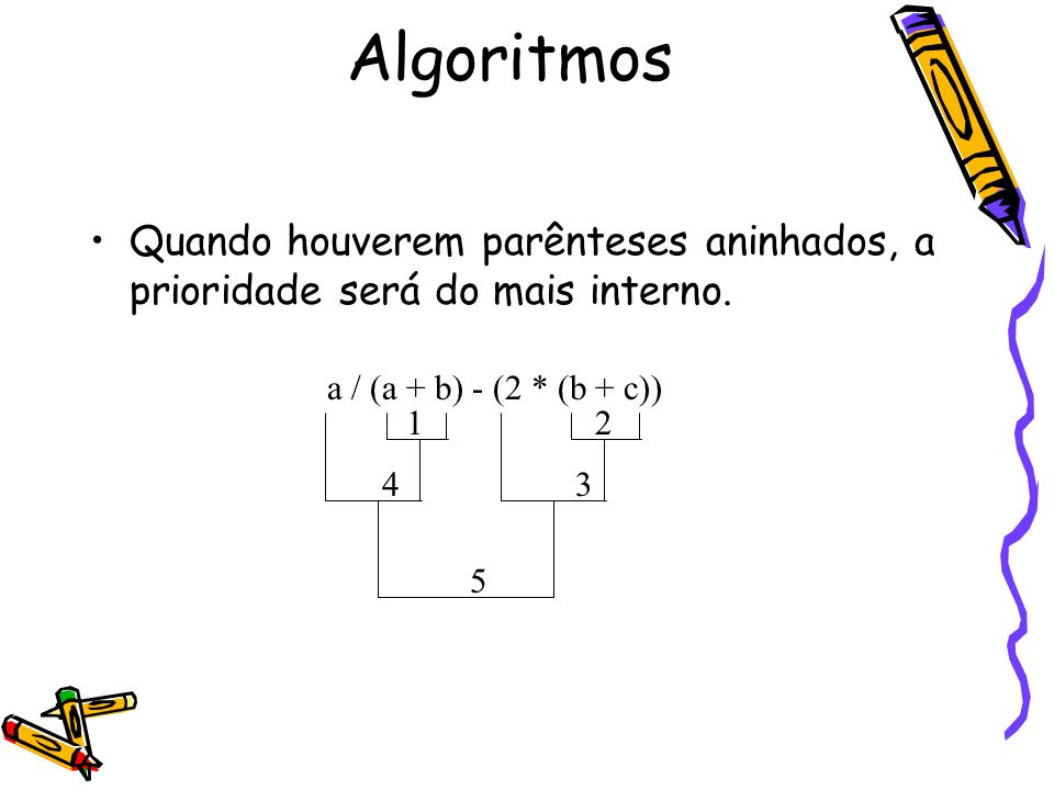 Quando houverem parênteses aninhados, a prioridade será do mais interno. a / (a + b) - (2 * (b + c)) 12 34 5 Algoritmos