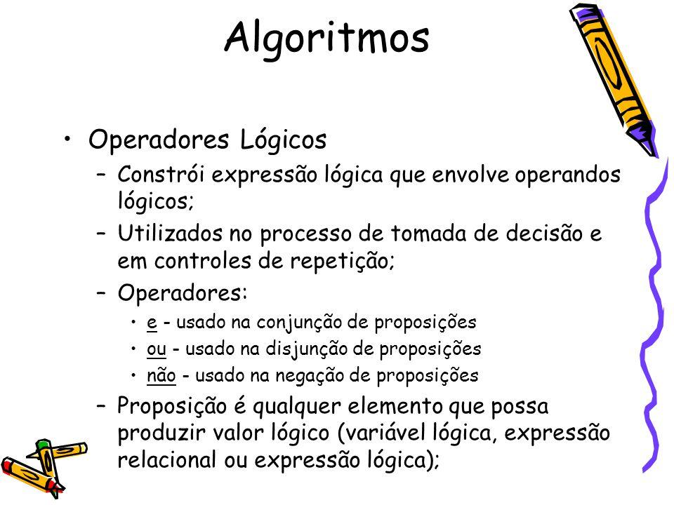 Operadores Lógicos –Constrói expressão lógica que envolve operandos lógicos; –Utilizados no processo de tomada de decisão e em controles de repetição;