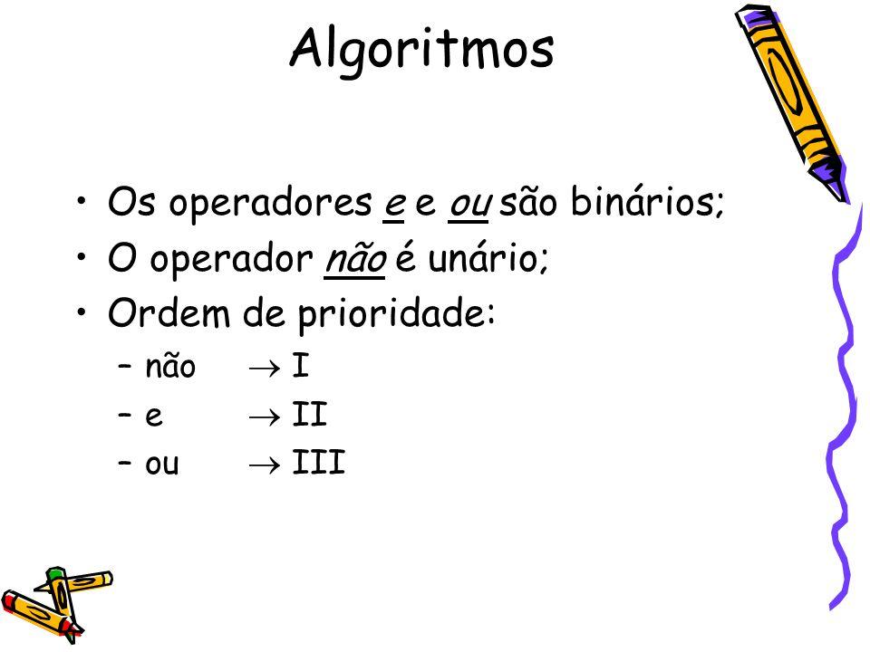 Os operadores e e ou são binários; O operador não é unário; Ordem de prioridade: –não  I –e  II –ou  III Algoritmos