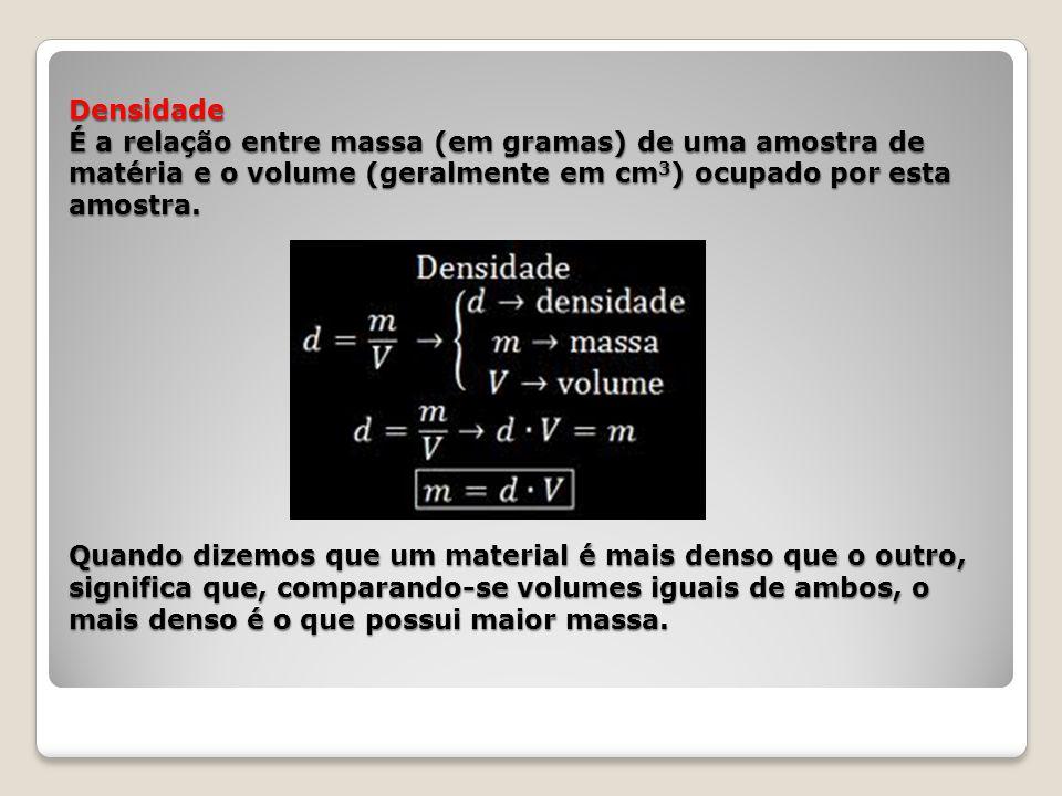 Densidade É a relação entre massa (em gramas) de uma amostra de matéria e o volume (geralmente em cm 3 ) ocupado por esta amostra. Quando dizemos que